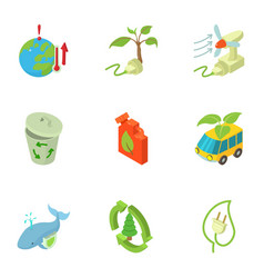 Eco evacuation icons set isometric style vector