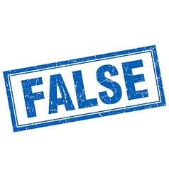 False blue square grunge stamp on white vector