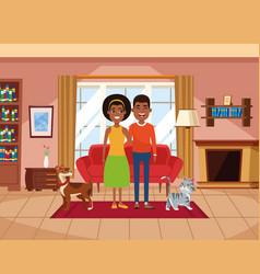Family inside home scenery cartoons vector