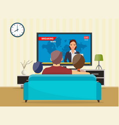 family with cat watching tv daily news vector image