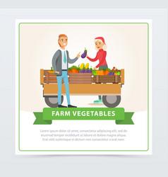 farm street shop with farmer behind vegetables vector image