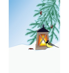 fir branches flashlight and tit vector image