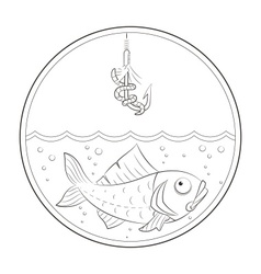 Fishing Fish in water and vector image
