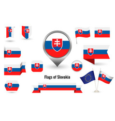 flag slovakia big set icons and symbols vector image