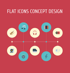Flat icons fiddle knob tone symbol and other vector