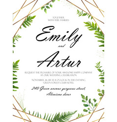 Floral card design with green fern forest leaves vector