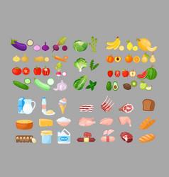 food cartoon set fruits vector image