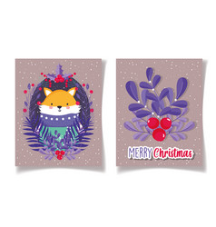fox with sweater foliage holly berry merry vector image