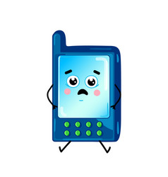 funny cell phone cartoon character vector image vector image