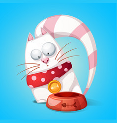 funny cute cartoon character cats animal eats vector image