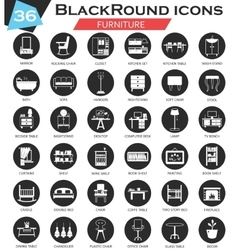 Furniture circle white black icon set vector