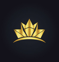 Gold crown shape logo vector