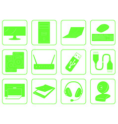 Green goods icons of computer online store vector