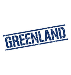 greenland blue square stamp vector image