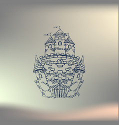 hand drawn cartoon fairy tale castle icon vector image