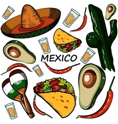 Hand drawn doodle Mexico set vector image