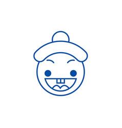 happy chinese emoji line icon concept happy vector image