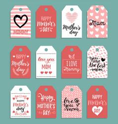 happy mothers day set tagslabels vector image