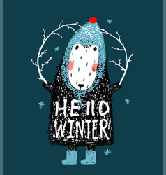 Hello winter cute funny sheep in hat design vector