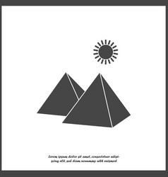Icon pyramid and sun in desert on white vector