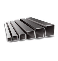 Iron square tubes on a vector