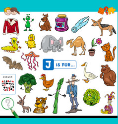 J is for educational game for children vector