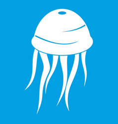 Jellyfish icon white vector