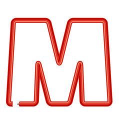 letter m plastic tube icon cartoon style vector image
