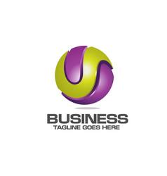 letter u logo symbol in colorful circle vector image