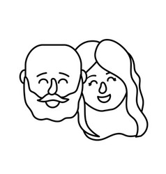 Line avatar couple head with hairstyle design vector