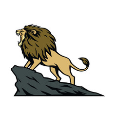 lion roaring on the mountain hill cartoon vector image