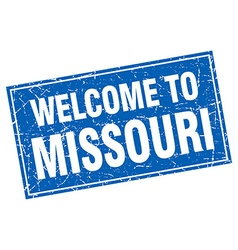 Missouri blue square grunge welcome to stamp vector