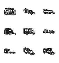 Motorhome icon set simple style vector