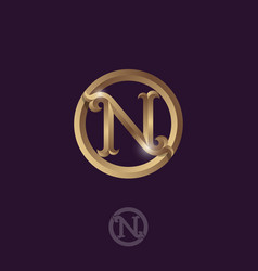 n letter gold round vector image