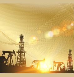 Oil pumps and derricks over the abstract golden vector