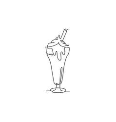 one single line drawing fresh sweet milkshake vector image