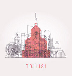 Outline tbilisi skyline with landmarks vector