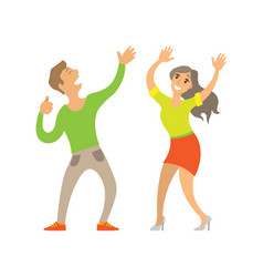 partying couple man and woman dancing on disco vector image
