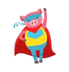 Pig Animal Dressed As Superhero With A Cape Comic vector