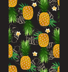 Pineapple seamless pattern with frangipani flower vector