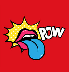 pop art speaking red lips tongue sticking vector image