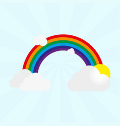 rainbow with gray clouds and sun on a light blue vector image