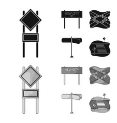Road signs and other web icon in blackmonochrome vector