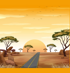 Savanna scene with road and sunset vector