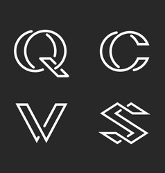 set letters s c q v monogram logos mockup vector image