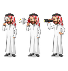 Set of businessman saudi arab man looking for vector