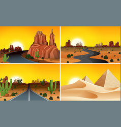 set of desert landscape vector image