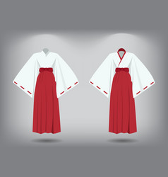 set of miko suit traditional japanese costume vector image