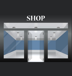Shop with glass windows and doors front view vector
