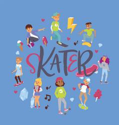 Skateboarders on skateboard web landing page vector